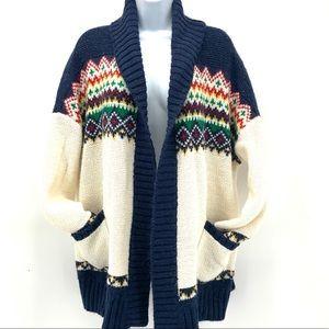 AEO Women's XL Fair Isle Open Cardigan Sweater
